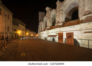Arles/France - August 13 2016: Arles Amphitheatre at night. The Arles Amphitheatre is a Roman amphitheatre in the southern French town of Arles. It was built in 90 AD.