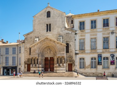 ARLES,FRANCE - AUGUST 30,2015 - The Church of St. Trophime (Trophimus) is a Roman Catholic church and former cathedral built between the 12th century and the 15th century.