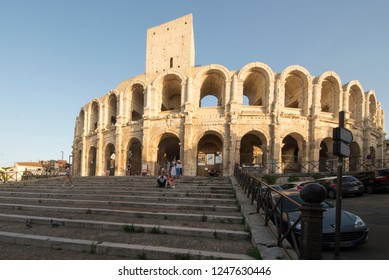 Arles/France - August 7 2016: Arles Amphitheatre. The Arles Amphitheatre is a Roman amphitheatre in the southern French town of Arles. It was built in 90 AD.
