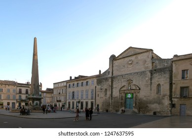 Arles/France - August 7 2016: Place de la Republique square, in the old city of Arles, France. Arles is a city and commune in the south of France.
