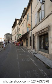 Arles/France - August 7 2016: Rond-Point des Arènes street, in the old city of Arles, France. Arles is a city and commune in the south of France.