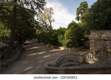Arles/France - August 8 2016: Jardin d'été park, in the old city of Arles, France. Arles is a city and commune in the south of France