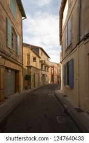 Arles/France - August 8 2016: Rue Porte de Laure street, in the old city of Arles, France. Arles is a city and commune in the south of France.