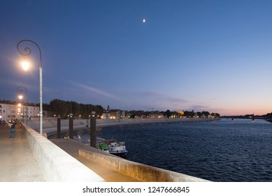 Arles/France - August 9 2016: Rhône river in the city of Arles, France, seen from the Marx Dormoy quay. Arles is a city and commune in the south of France.