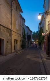 Arles/France - August 9 2016: Rue Voltaire street, in the old city of Arles, France. Arles is a city and commune in the south of France.