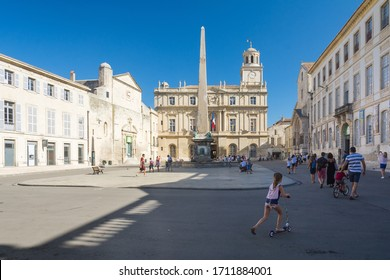 Arles,France-august 14,2016:view of the square where the city hall and the obelisk of Arles are located during a sunny day