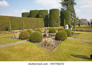 ARLEY, CHESHIRE, UK - APRIL 17, 2021: The fish garden on a bright sunny day, Arley Hall.
