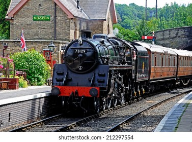 Arley, UK - July 10, 2014 - Steam Locomotive British Rail Standard Class 5 4-6-0 number 73129 at the railway station, Severn Valley Railway, Arley, Worcestershire, England, UK, Europe, July 10, 2014.