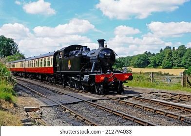 Arley, UK - July 10, 2014 - Small Prairie Tank Locomotive 4500 Class 2-6-2T number 4566 approaching railway station, Severn Valley Railway, Arley, Worcestershire, England, UK, Europe, July 10, 2014.