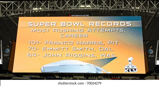 ARLINGTON - JAN 26: The giant scoreboard in Cowboys Stadium in Arlington, TX - sight of Super Bowl XLV. Scoreboard is listed in Guinness Book of World Records. Taken January 26, 2011 in Arlington, TX.