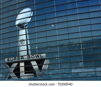ARLINGTON - JAN 26: Preparations are underway for Super Bowl XLV. A view of the Super Bowl trophy on the side of Cowboys Stadium in Arlington, Texas. Taken January 26, 2011 in Arlington, TX.