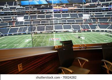 ARLINGTON - JAN 26: A view of Cowboys Stadium in Arlington, Texas from one of Jerry Jones' luxury suites. Sight of Super Bowl XLV. Taken January 26, 2011 in Arlington, TX.