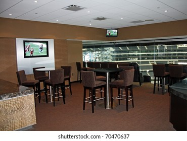 ARLINGTON - JAN 26: A view of a luxury suite in Cowboys Stadium in Arlington, Texas sight of Packers Steelers Super Bowl XLV. Taken January 26, 2011 in Arlington, TX.