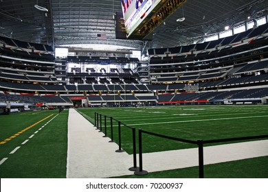 ARLINGTON - JAN 26: A view of the side line and field in Cowboys Stadium in Arlington, Texas sight of Packers Steelers Super Bowl XLV. Taken January 26, 2011 in Arlington, TX.