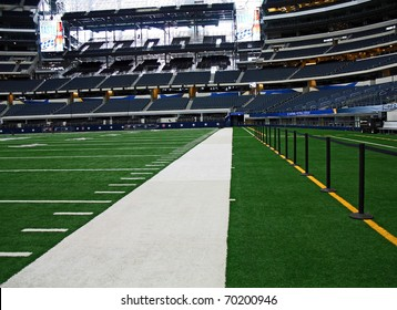 ARLINGTON - JAN 26: A view of the side line in Cowboys Stadium in Arlington, Texas sight of Packers Steelers Super Bowl XLV. Taken January 26, 2011 in Arlington, TX.