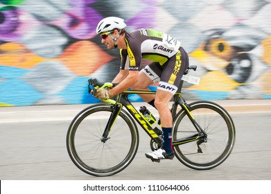 ARLINGTON JUNE 10: A cyclist competese in the elite men's race at the Armed Forces Cycling Classic on June 10, 2018 in Arlington, VA