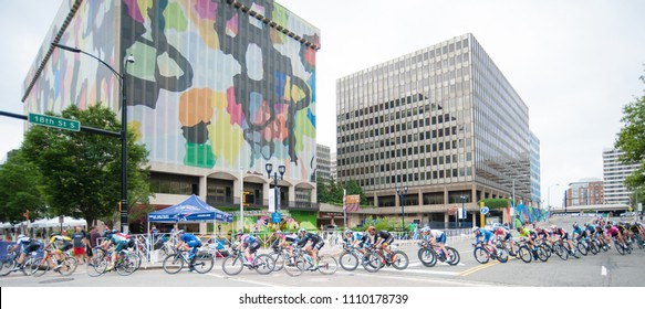 ARLINGTON JUNE 10: Cyclists compete in the elite men's race at the Armed Forces Cycling Classic on June 10, 2018 in Arlington, VA