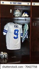 ARLINGTON - JUNE 16: Tony Romo's locker in the Dallas Cowboys locker room in Cowboys Stadium  Arlington, Texas. Taken June 16, 2010 in Arlington, TX.