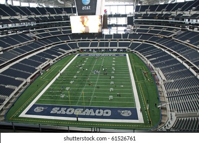 ARLINGTON - JUNE 17: Taken in Cowboys Stadium, Arlington, TX., on Thursday, June 17, 2010. An inside Cowboys Stadium and giant video monitor from endzone. Super Bowl XLV will played here in 2011.