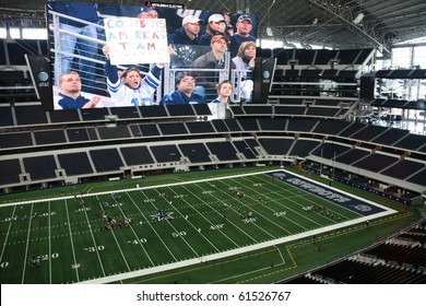 ARLINGTON - JUNE 17: Taken in Cowboys Stadium, Arlington, TX., on Thursday, June 17, 2010. Cowboys Stadium and giant video monitor. Super Bowl XLV will be played here in 2011.
