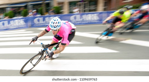 ARLINGTON JUNE 9: Cyclists compete in the elite men's race at the Armed Forces Cycling Classic on June 9, 2018 in Arlington, VA