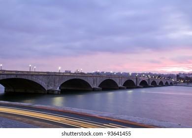 Arlington Memorial Bridge in Washington D.C. , at dusk