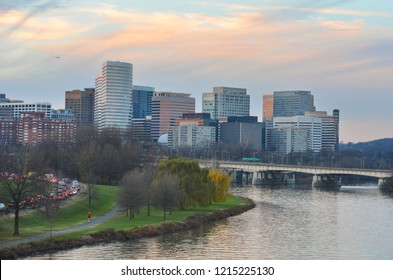 Arlington and Rosslyn skyline in the evening - Circa Washington DC United States of America