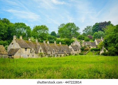 Arlington row, Bibury, village and civil parish in Gloucestershire, England. It is on both banks of the River Coln which rises in the same District, named Cotswold, and which is a Thames tributary.
