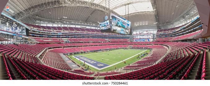 Arlington, Texas, October 11, 2015: Panoramic image of AT&T Stadium during Breast Cancer Awareness Month