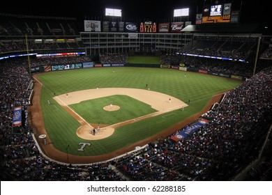 ARLINGTON, TEXAS - SEPTEMBER 27: Night game at The Ballpark in Arlington between the Rangers and Seattle Mariners on September 27, 2010 in Arlington, Texas.