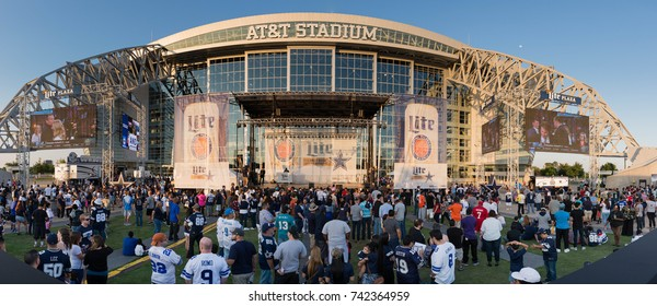 Arlington, TX, April 30, 2015: Panoramic view of the crowd outside of AT&T Stadium during the NFL draft party