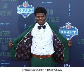 ARLINGTON, TX - Lamar Jackson attends the 2018 NFL Draft at AT&T Stadium on April 26, 2018 in Arlington, Texas.