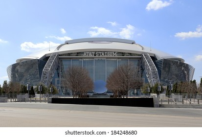 ARLINGTON, TX - MARCH 14: AT&T Stadium located in Arlington, Texas on March 14, 2014. Formerly known as Cowboys Stadium, the multipurpose stadium is home to the Dallas Cowboys of the NFL.