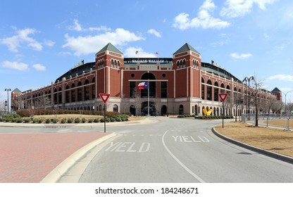 ARLINGTON, TX - MARCH 14: Globe Life Park in Arlington in Arlington, Texas on March 14, 2014. Formerly known as Rangers Ballpark in Arlington, the ballpark is home to The Texas Rangers baseball team.