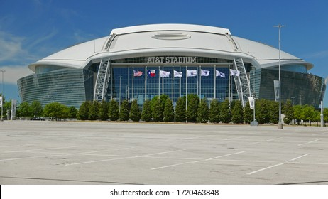 ARLINGTON, TX USA 5-1-20: View of Cowboys Stadium in Arlington, Texas. Home of the NFL Dallas Cowboys since 2009. Also used by college football teams and others for different events.