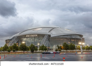 ARLINGTON, USA - APR 18, 2016: Exterior view of the AT&T Stadium, formerly known as Cowboys Stadium in Arlington. Texas, United States
