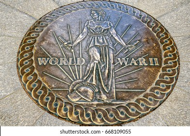 Arlington, USA. Circa November 2011. A seal on the floor of World War 2 Memorial in Arlington using the World War II Victory Medal design