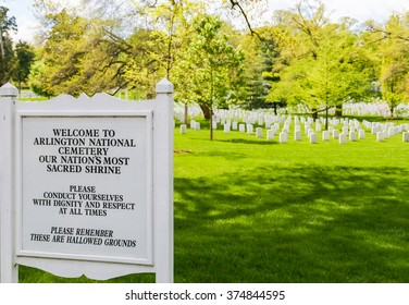 ARLINGTON, USA - MAY 2, 2015: Sign with behavioral code near the entrance of Arlington National Cemetery.
