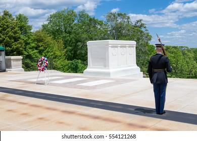 ARLINGTON, USA. MAY 2016. Arlington National Cemetery is the most iconic military cemetery in the US. IN IT, the Tomb of the Unknown Soldier is always guarded by a soldier as shown in this picture