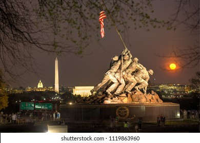 Arlington VA, April 11, 2017:  Marine Corps War Memorial in Arlington VA,  honors the US Marines who served in all conflicts. The statue is commonly referred to as the Iwo Jima Memorial.