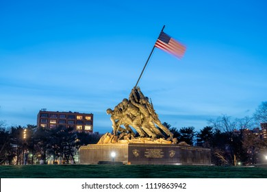 Arlington VA, April 12, 2018:  Marine Corps War Memorial in Arlington VA,  honors the US Marines who served in all conflicts. The statue is commonly referred to as the Iwo Jima Memorial.