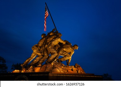 ARLINGTON, VA - APRIL 27, 2018: Iwo Jima Memorial in Washington. The Memorial to honor the Marines who have died defending the US since 1775. Night time photo.