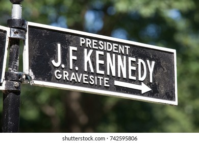 ARLINGTON, VA - AUGUST 20: Sign at Arlington National Cemetery for President J. F. Kennedy's grave-site in Arlington, VA on August 20, 2017.