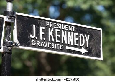 ARLINGTON, VA - AUGUST 20: Sign at Arlington National Cemetery for President J. F. Kennedy's grave-site in Arlington, VA on August 20, 2017.