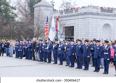 Arlington, VA - December 12 2015: Members of the United States Air Force Auxiliary Civil Air Patrol await the arrival of trucks from Wreaths Across America at Arlington National Cemetery
