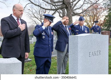 Arlington, VA - December 12 2015: Civil Air Patrol National Commander, Major General Joseph Vazquez, salutes a veteran during Wreaths Across America