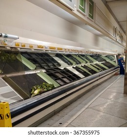 Arlington, VA - January 25, 2016: Grocery store shelves remain empty as the cleanup from Winter Storm Jonas continues