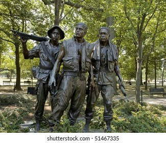ARLINGTON,  VA - JUNE 24 ;  Vietnam war memorial statues  named 'The Three Soldiers' sculpted by Frederick Hart located in the National Mall and Memorial Parks, 24th June 2007 in Virginia, USA