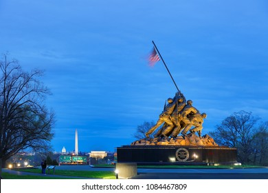 Arlington, VA, USA - April 16, 2018: Marine Corps War Memorial after sunset, Arlington VA. Also known as the Iwo Jima Memorial. It honors United States Marines in all conflicts.
