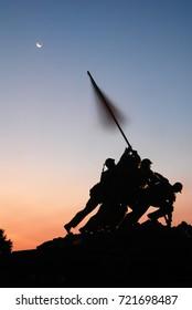 Arlington, VA, USA August 6 The sun rises on the Marine Corps Memorial, also known as the Iwo Jima Memorial, in Arlington, Virginia